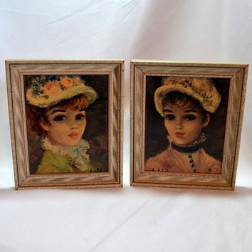 Framed Huldah Prints - Annette & Marianne - 1950's by Cherry Jeffe Huldah - Parisian Women - Shabby French Decor