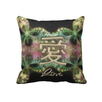 Chinese Love Symbol Gold on Fractal Lace Pillow from Zazzle.com