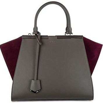 Fendi women's leather handbag shopping bag purse 3jours grey