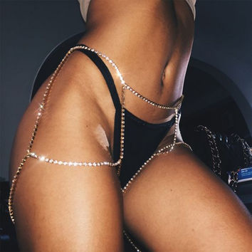Hot Sexy Silver Crystal Thigh Leg Body Chain Beach Jewelry Bikini Belly Body Waist Link Sexy Necklace For Women #231613