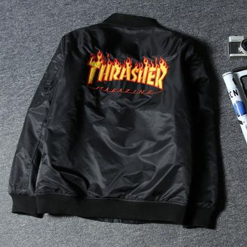 THRASHER Hot sale fashion Flight suit men and women quilted couples coat