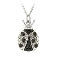 Sterling Silver and Black Diamond Ladybug Pendant Necklace (.03 cttw, J-K Color, I2-I3 Clarity), 18""