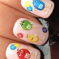 NAIL ART WRAP WATER STICKER DECALS TRANSFERS CHOCOLATE/PEANUT M&M'S SWEETS #473