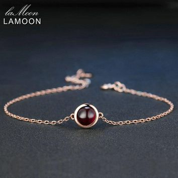 LAMOON Classic Simple 6mm 1.1ct 100% Natural Red Garnet 925 Sterling Silver Jewelry  S925 Charm Bracelet LMHI021