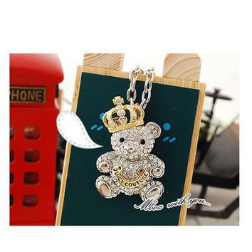 $2.99 White Rhinestone Bear Pendant Necklace at Online Cheap Fashion Jewelry Store Gofavor