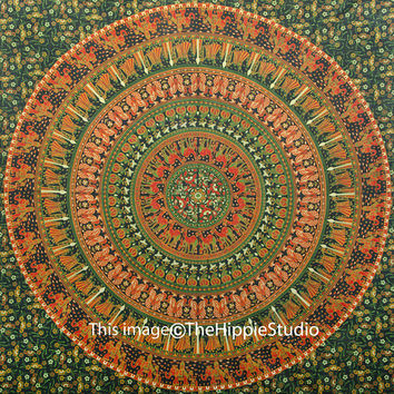 Mandala Tapestries, Tapestry Wall Hanging, Hippie Tapestries, Wall Tapestries, Bohemian Tapestries, Wall Art, Green Camel Mandala Tapestry