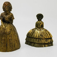 Bronze Southern Lady Bells Southern Belles Victorian Lady Brass Bells Set of Two