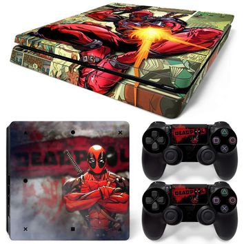 Deadpool Paper Design Waterproof Skin Vinyl Decal for PS4 Slim Console and Controllers
