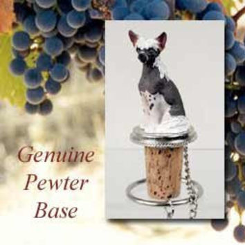 1 X Chinese Crested Dog Wine Bottle Stopper - DTB81