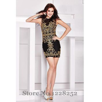 Sexy Hot Black Cocktail Dresses with Gold Rhinestones High Illusion Neck Sheath Sexy Short Party Gowns Custom Made