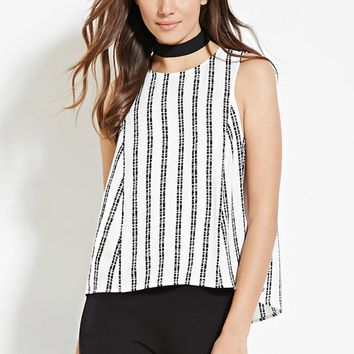 Contemporary Striped Split-Back Top