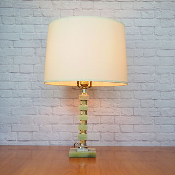 Green Onyx Table Lamp Stacked Squares with Silver Spacers / Vintage Home Decor / Art Deco Lighting