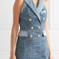 Balmain - Denim-trimmed tweed mini dress