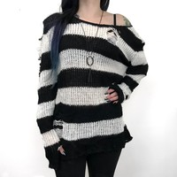 Shreddy Freddy Tunic Sweater - White / Black (1 left!)
