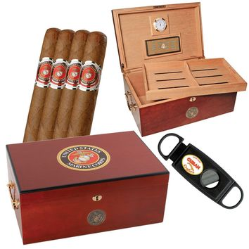 Marine Corps Gift Set One American Emblems Marines Humidor and Cigars