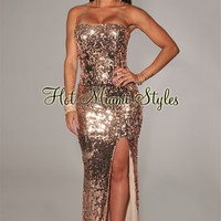 Rose Gold Sequined Slit Strapless Gown