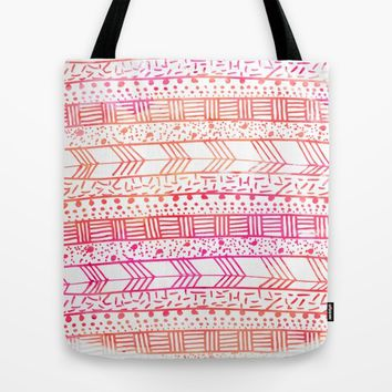 Girly pink orange watercolor hand painted tribal Tote Bag by Pink Water | Society6