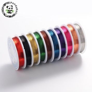Copper Jewelry Wire, Lead Free & Cadmium Free & Nickel Free, Mixed Color, 0.4mm; 10m/roll