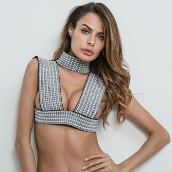 Sexy Perl Embellished hollow out top