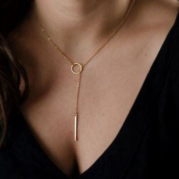 ICIKU7Q Gold Necklaces Pendants Minimalist Simple Necklace Circle with Bar Long Necklace