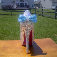 Handmade Genuine Swarovski Crystal Shoes With Something Blue Bow