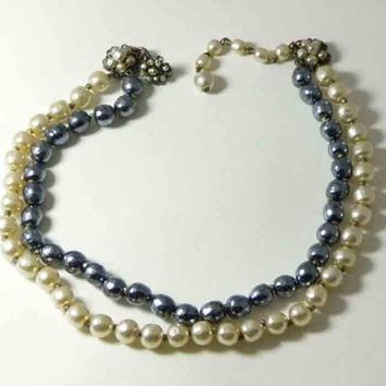 Miriam Haskell Navy Blue and Ivory Baroque Pearl Necklace