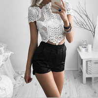 Hollow Lace Short-Sleeved Shirt Blouse Tops