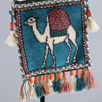 Vintage 1970s - 1980s Egyptian CAMEL Carpet Bag with Beaded Tassels