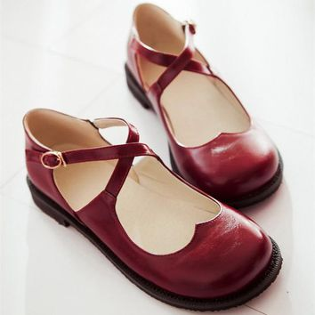 New Tide Vintage Round Toe Mary Jane Flat Shoes For Woman Low-Heel Sweet Cute Doll Shoes Lolita Loafers Boat Shoes Big Size 62