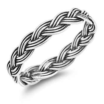 925 Sterling Silver Traditional Wiccan Knot Ring 4MM