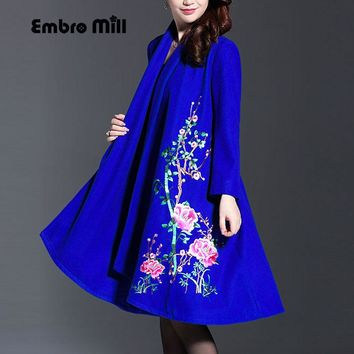 Vintage royal embroidery Winter wool coats woman Chinese style runway lady elegant plus size loose trench coat M-4XL