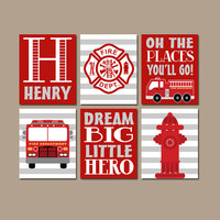 FIRE TRUCK Decor, Firetruck Birthday Gift, Firetruck Baby Shower, Firetruck Party Props, Firetruck Theme, Gift for Boy, Firetruck Set of 6