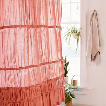 Rayna Tiered Ruffle Tie-Side Shower Curtain | Urban Outfitters