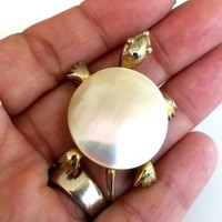 Vintage JJ Jonette Jewelry Mother Pearl Turtle Pin Gold Tone