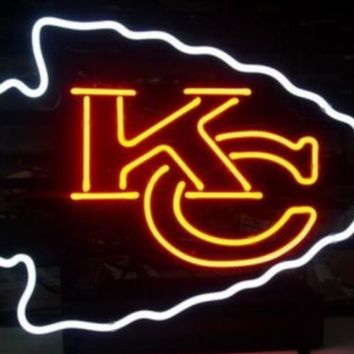 Business Custom NEON SIGN board For Football LED Kansas City Chiefs REAL GLASS Tube BEER BAR PUB Club Shop Light Signs 15*12""