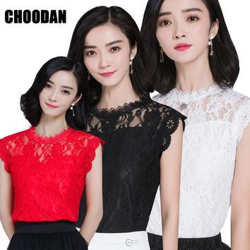 HOT SALE Lace Top Women Sleeveless Summer Tops 2017 New Korean Style Elegant Hollow Out Casual Lace Blouses Shirts For Ladies