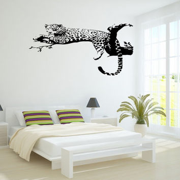 Wall Decor Vinyl Sticker Room Decal Art Animal Leopard On Tree Branch Wild Cheetah Cat 777