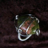 Ring Size 8 Unakite Delight in SS Wire by wirequeen on Etsy