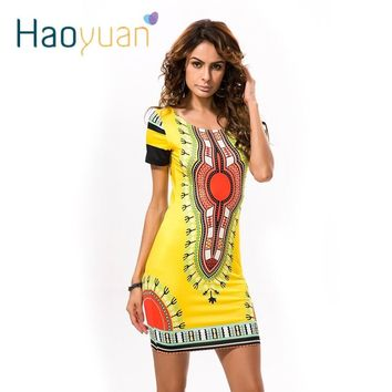 Summer Dashiki Casual Mini African Print Sundress Ladies African femme Clothing Indian Dresses
