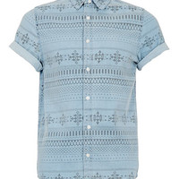 BLUE AZTEC PRINT DENIM SHORT SLEEVE SHIRT - Clearance