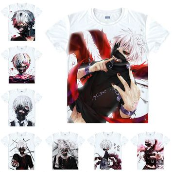 Coolprint Japanese Anime Shirt Tokyo Ghoul T-Shirts Multi-style Short Sleeve Ken Kaneki One-Eyed King Cosplay Costume Kawaii