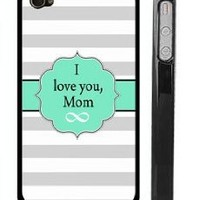"""""""I Love You, Mom"""" Mother's Day iPhone Case Cover for 4 4s - Mint and Stripe iPhone Covers for Mom - USA Made"""