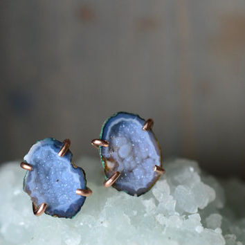 Colorful Blue Yellow Geode Earrings. Natural Blue Stone Studs. Raw Druzy Gemstone Earrings. 14k Rose Gold Fill Studs. Blue Stone Jewelry