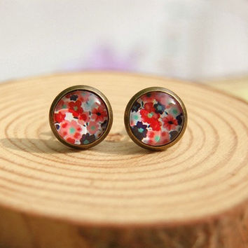 Stylish Bohemian Floral Mini Stud Earrings for Girls Glass Cabochon Earrings Vintage Jewelry Antique Bronzed, lovely gift bridesmaid