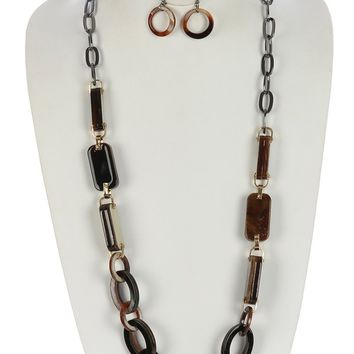 Turtois Lucite Stone Chunky Chain Necklace Set