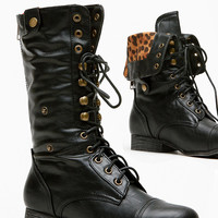 Black Faux Leather Fold Over Leopard Print Combat Boot