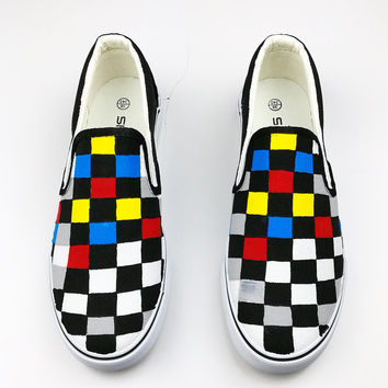 Color Checkered Low Help Women Shoes Summer Slip-On Flat Hand-Painted Canvas Shoes Gg GoFung Design Graffiti 2017 Free Shipping
