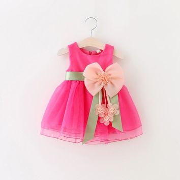 2017 Summer Style Baby Girls Dresses Princess Bow Weddings Girls Dress Kids Party Costume Children Clothing For 0-2 Years Old