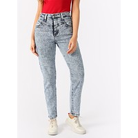 Bleached And Acid Washed High Waisted Mom Jeans