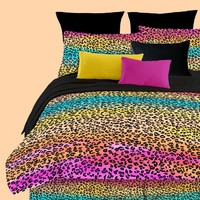 Street Revival Rainbow Leopard King Comforter Set, Multi